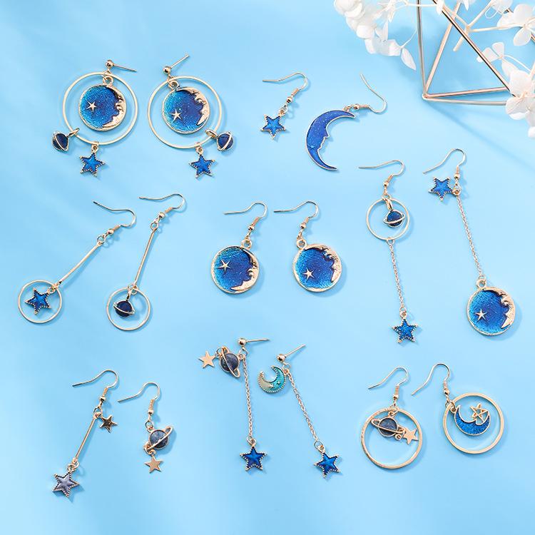 天天特价ins风925银梦幻宇宙星空耳坠少女蓝色韩国星星月亮代耳夹