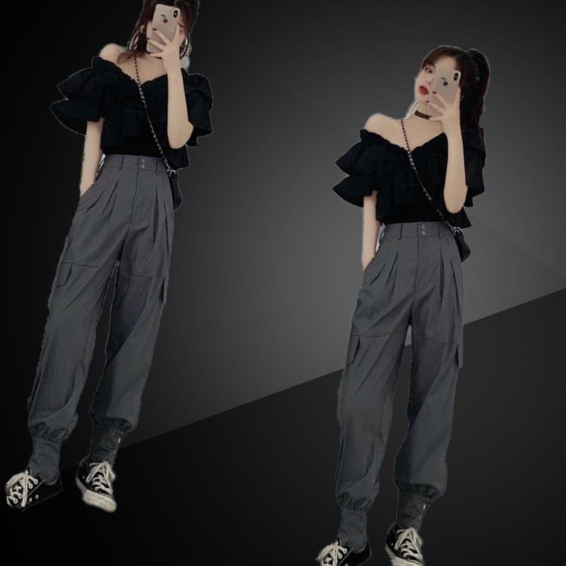 东大门性感露肩衬衫女设计感小众2020新款荷叶边短袖一字肩上衣夏