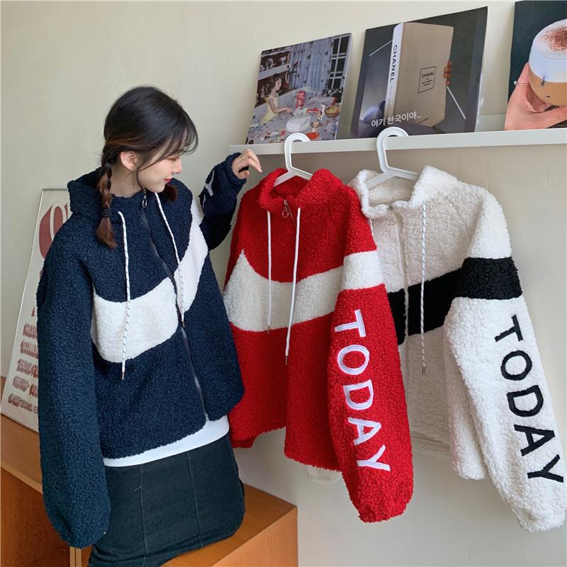 控8 实拍实价2020年秋季新款韩版仿羊羔毛百搭拼接外套-EOEO-