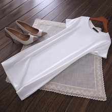 夏季新款纯棉修身显瘦内搭韩款中长cr13短袖白ts底衫连衣裙