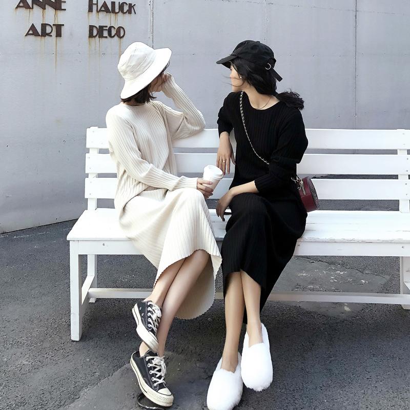 春秋打底针织裙黑色毛衣长裙冬