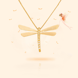 CYoung Lucky Elf Pendant Xuan Ling Jewelry 14K Gold Diamond Dragonfly Necklace Customized for Girlfriend