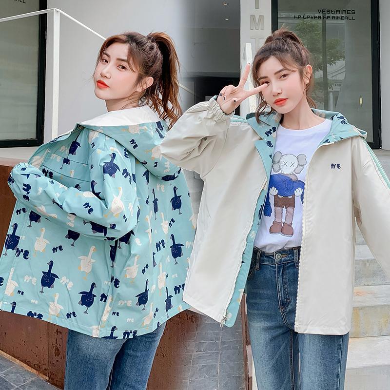 两面穿外套女春秋装2020新款初中高中学生韩版宽松百搭运动棒球服-卡卡衣橱-