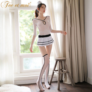 Amour Sexy Lingerie Women Uniform Temperament Stewardess Perspective Sexy Stockings Stockings Set New 7599