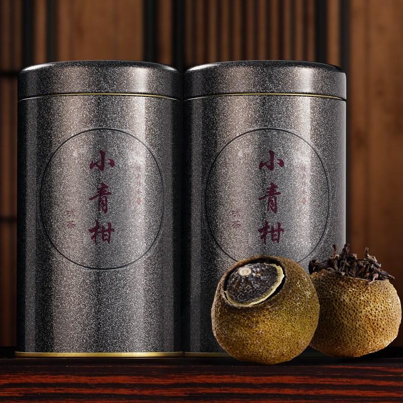 新会小青柑普洱茶100g罐装 宫廷柑橘熟茶陈皮普洱柑普茶罐装散。