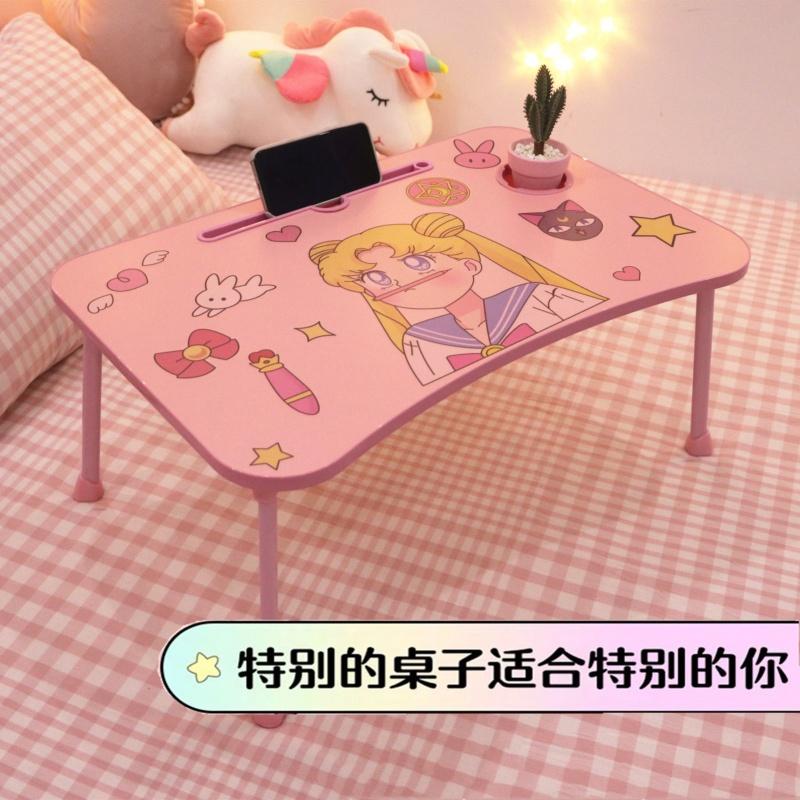 少女心可折叠电脑桌宿舍床上书桌儿童吃饭学习桌简约加高小桌子台