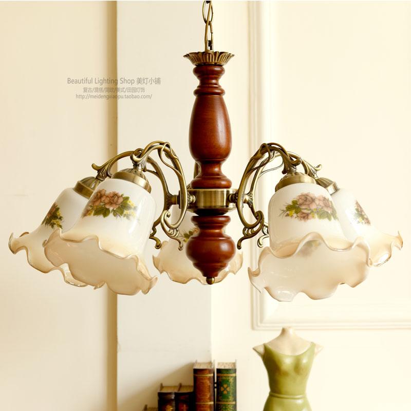 客厅吊灯卧室美式田园乡村风格复古实木灯五头吊灯创意彩绘新中式-美灯小铺欧美乡村灯饰