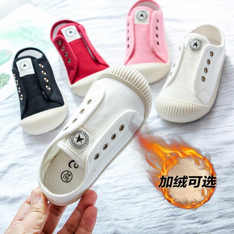 小白鞋儿童高帮帆布鞋女童2019新款秋冬宝宝幼儿园室内鞋男童板鞋