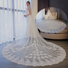 European and American long tailed wedding dress accessories 3M wide door with inserted Comb Bridal Wedding Dress