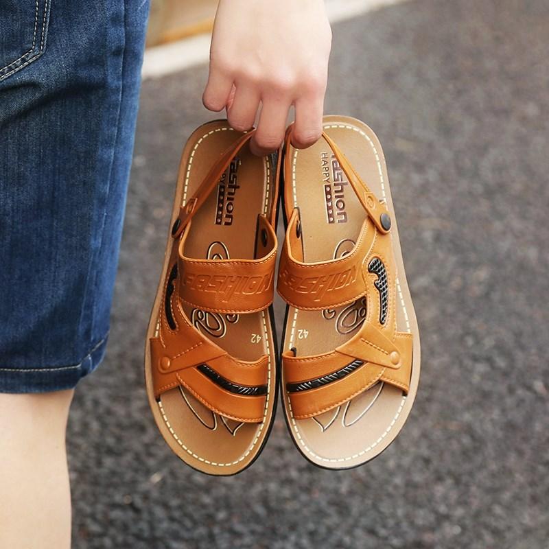男士凉鞋2018新款夏季沙滩鞋潮防滑鞋子凉鞋男厚底休闲两用凉拖鞋
