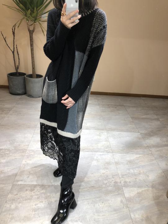 个性时髦~ 下摆拼接纱裙 2324 进口羊毛加厚高领连衣裙毛衣裙