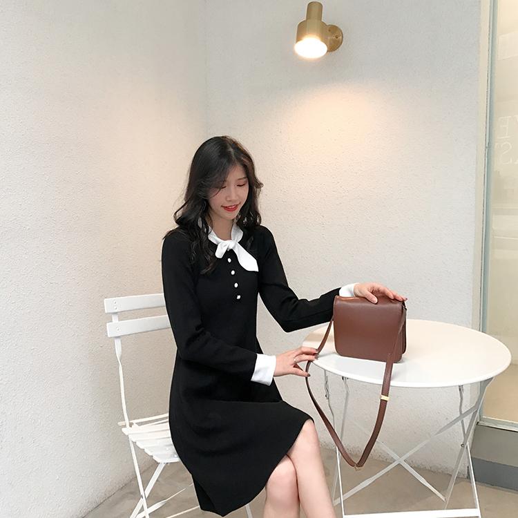 长袖针织连衣裙女秋冬2018新款毛衣裙中长款打底