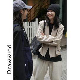 画风drawwind小西装外套女生早秋韩版双排扣设计气质短款西服上衣