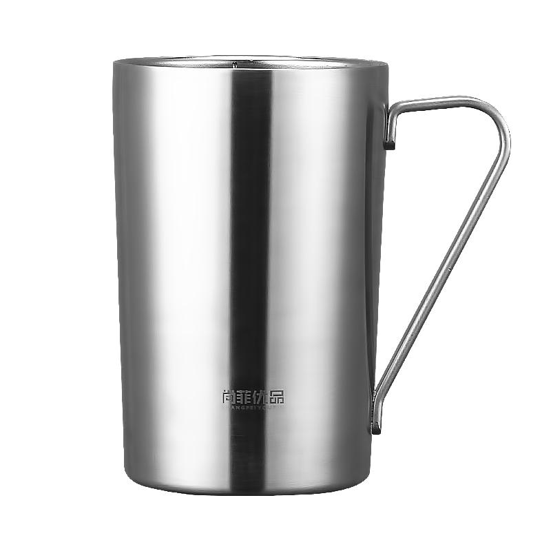 大容量创意欧式双层304不锈钢水杯防烫防摔家用马克杯咖啡杯子