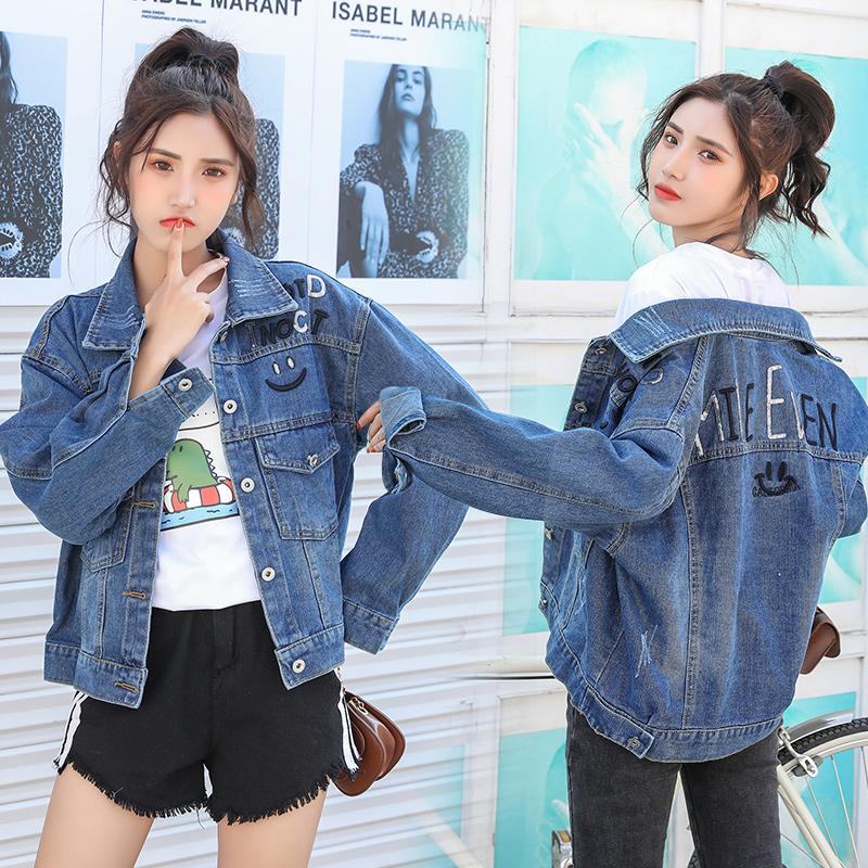 2020早春新款牛仔外套女短款韩版修身显瘦OL风长袖女bf夹克上衣潮 -