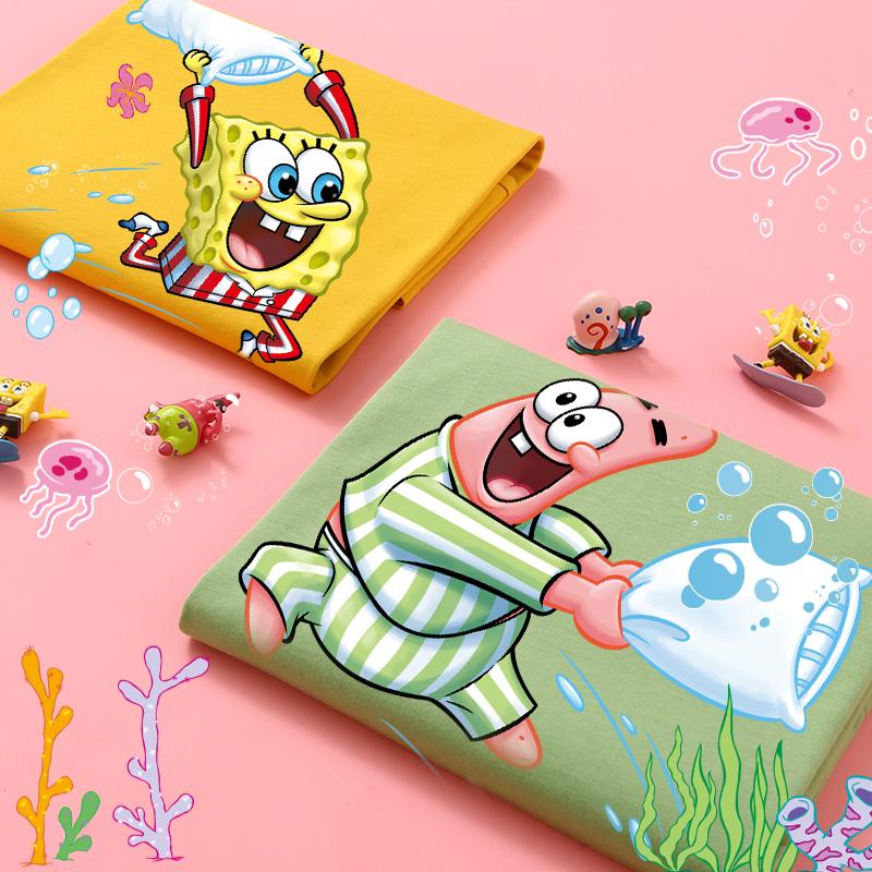 有一种友谊叫海绵宝宝和派大星!小众设计感情侣装夏装t恤女短袖