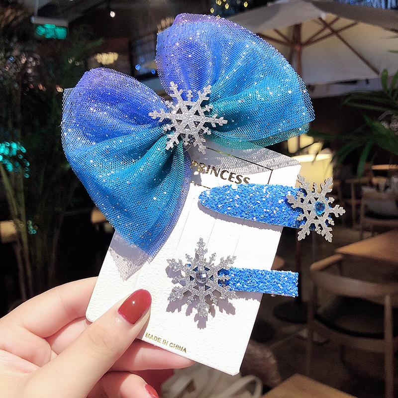 韩国儿童发夹爱莎公主头饰冰雪奇缘发圈套装蝴蝶结头绳蓝色发饰女