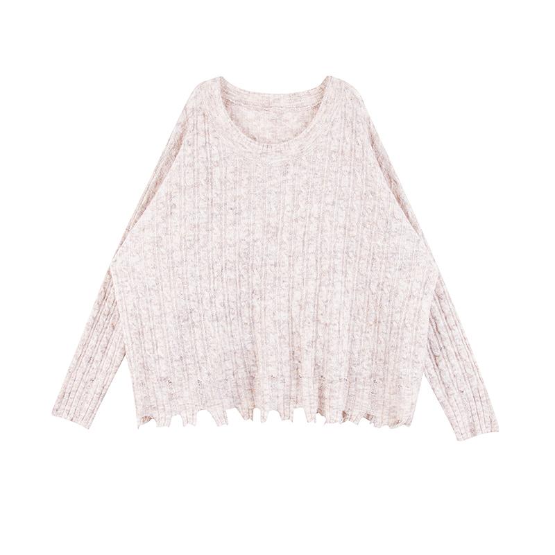 孕妇毛衣秋冬上装2017新款宽松长袖个性破边上衣…