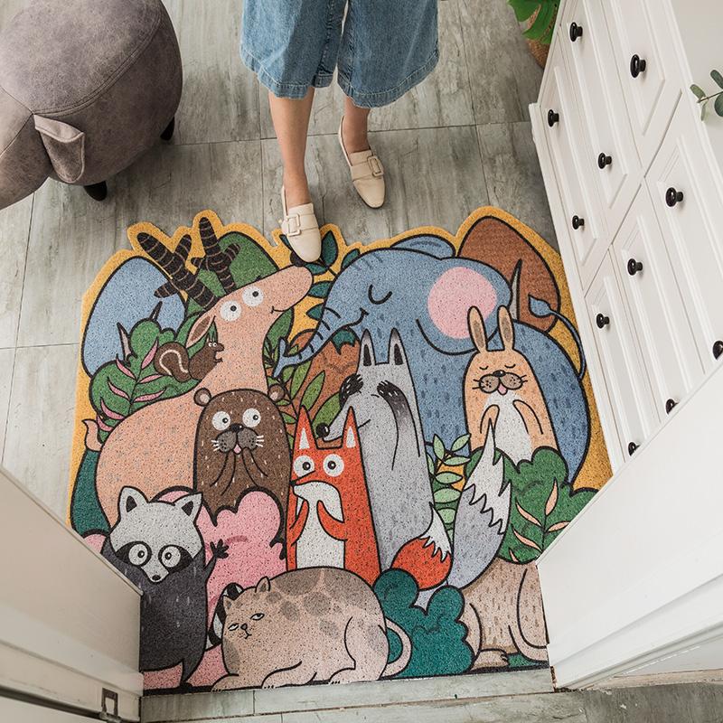 卡通动物丝圈地垫入户门垫客厅进门地垫卧室厨房脚垫防滑地垫家用