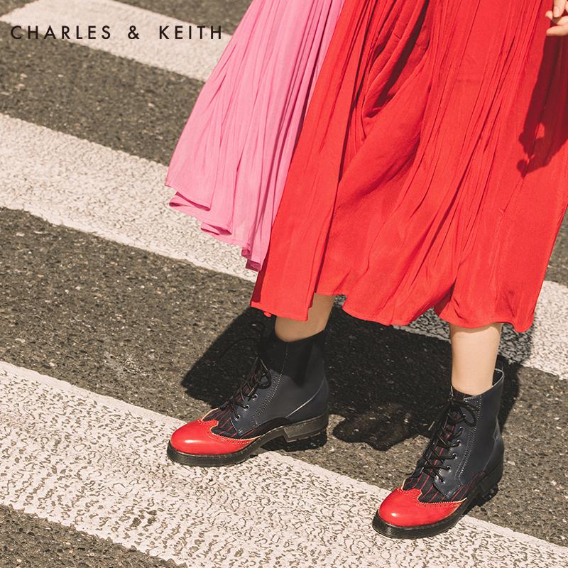 CHARLES&KEITH马丁靴女CK1-90390145冬复古布洛克系带拼接及踝靴