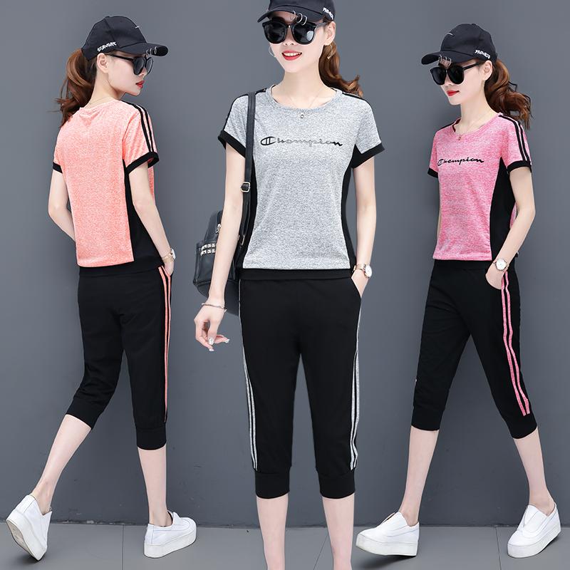 休闲运动服两件套装2019新款女夏季时尚潮韩短袖七分洋气减龄跑步