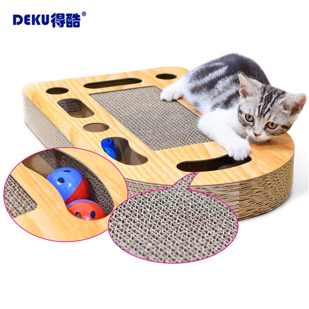 得酷 宠物玩具掏球型猫抓板瓦楞纸转盘耐磨猫咪铃铛蹭痒器包邮