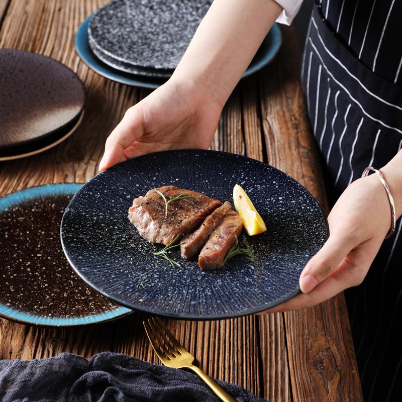 日式寿司盘家用盘子创意陶瓷盘浅盘餐具餐盘商用沙拉盘餐厅牛排盘