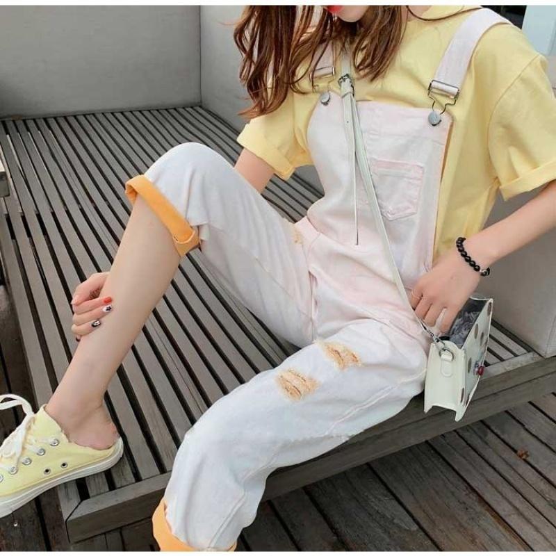 209 很仙背带裤两件套套装女法国小众2019新款洋气夏装网红显瘦潮