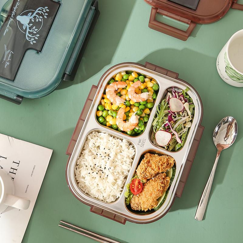 316不锈钢分格饭盒学生便当盒成人上班族保温饭盒大容量分隔餐盘