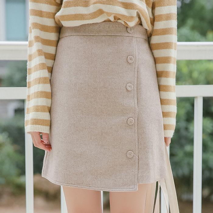 2020实拍秋冬款 港味复古单排扣不规则毛呢半身裙-艾米兰-