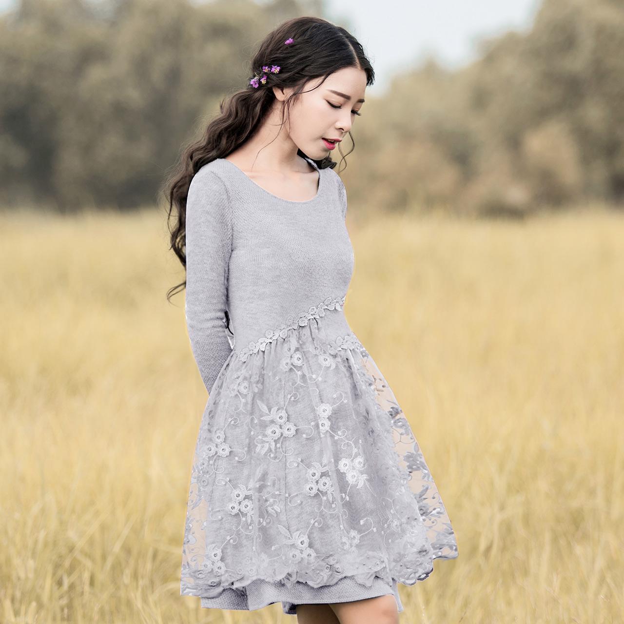 烟花烫XW2017秋季新女装打底简约修身蕾丝针织连衣裙 悦颖