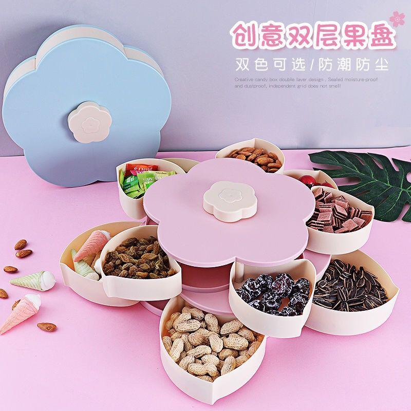 过新年家用客厅旋转双层水果瓜子盆中秋结婚庆喜事盘饼干糖零食盒