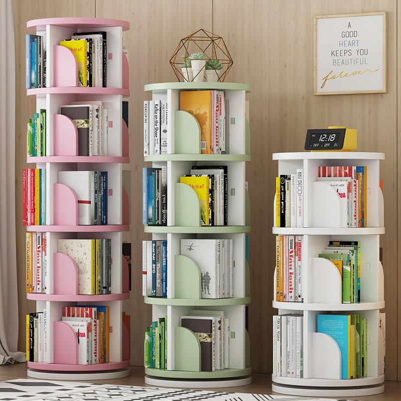 旋转书架置物架儿童绘本架简易家用360度简约落地小学生创意书柜