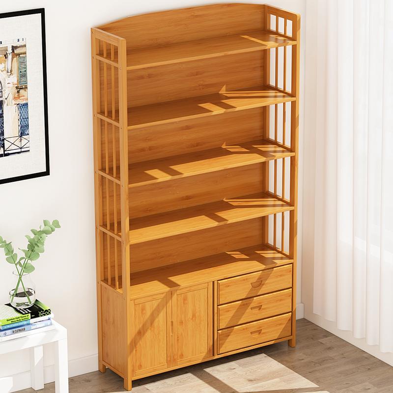 带门书柜书架竹组合儿童转角创意简易宜家简约现代实木落地置物架