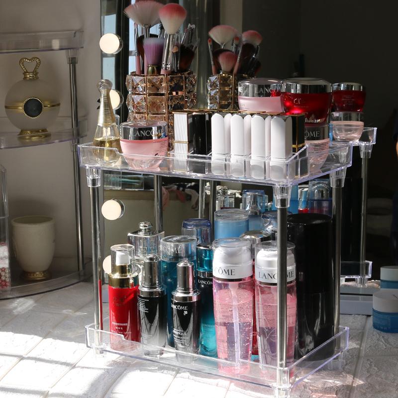 点击查看商品:卫生间浴室厨房化妆品收纳盒透明塑料网红口红架护肤品桌面置物架