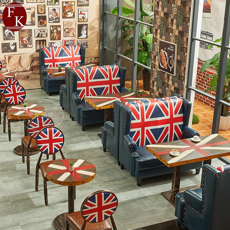 欧式英伦复古休闲餐饮咖啡店主题餐厅卡座沙发桌椅组合工业风商用
