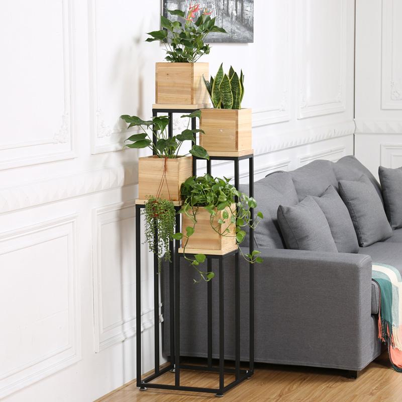 北欧铁艺实木多层花架客厅落地式阶梯式花架子