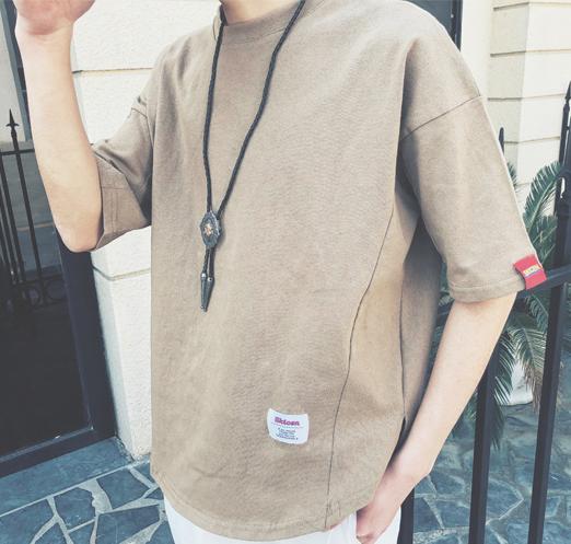 sundipy夏季T恤男装宽松短袖欧美时尚休闲简洁潮纯色上衣体恤衫