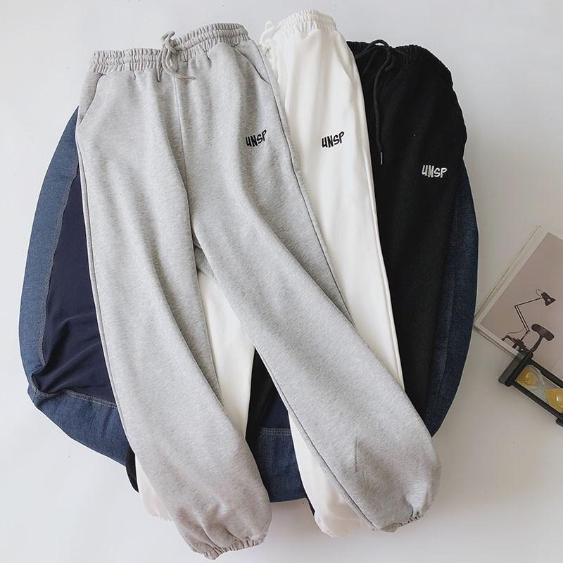纯棉运动裤女宽松束脚薄款裤子女2020新款春季小脚休闲裤灰色卫裤