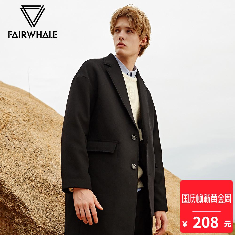 马克华菲毛呢大衣羊毛男冬新款时尚潮款前口袋简约上衣外套