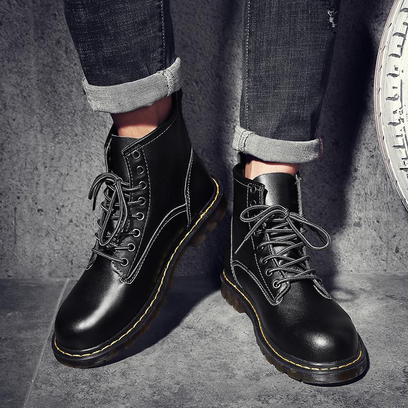 冬季加绒马丁靴男女学生中帮男鞋英伦高帮军靴百搭真皮韩版男靴子