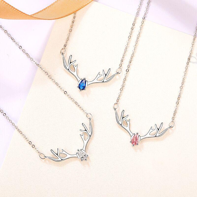 一路鹿有你s925银项链女纯银麋鹿吊坠锁骨链ins网红简约生日礼物