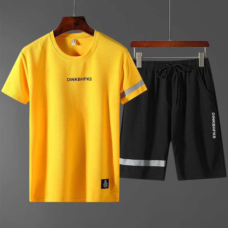 运动套装男夏季休闲运动服套装男宽松两件套情侣短袖短裤衣服潮