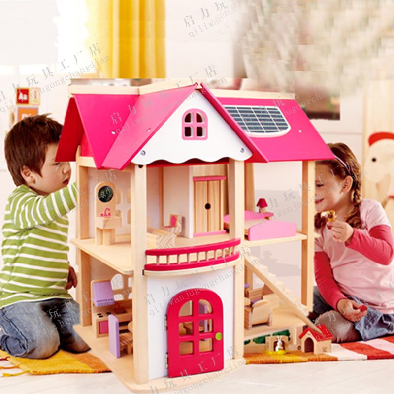 diy木制小屋女粉色房子别墅木质娃娃屋