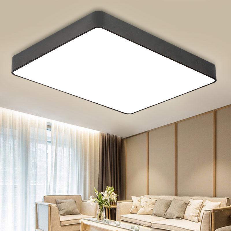 简约现代led薄款吸顶灯长方形正方形黑色白色创意个性大气客厅大灯主卧室餐厅书房饭厅房间门厅灯具天猫精灵
