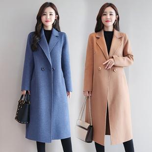 毛呢外套女2020新款秋冬装韩版宽松中长款复古双面尼毛呢大衣女