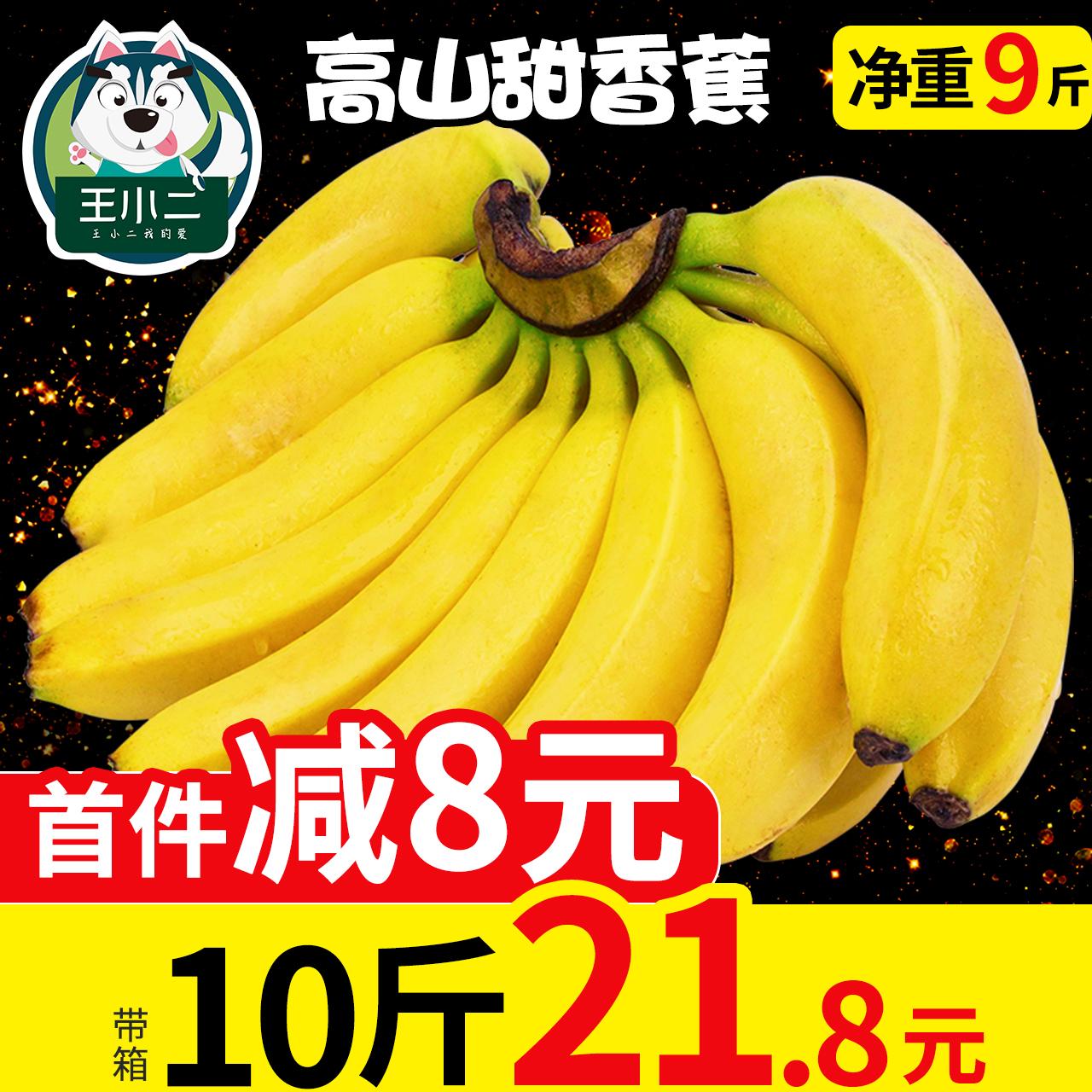王小二 高山香甜大香蕉新鲜当季水果包邮整箱应季10芭蕉大蕉9斤