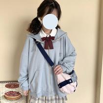 酱果自制学生少女宽松拉链日系学院风JK卫衣开衫BF中长款连帽外套