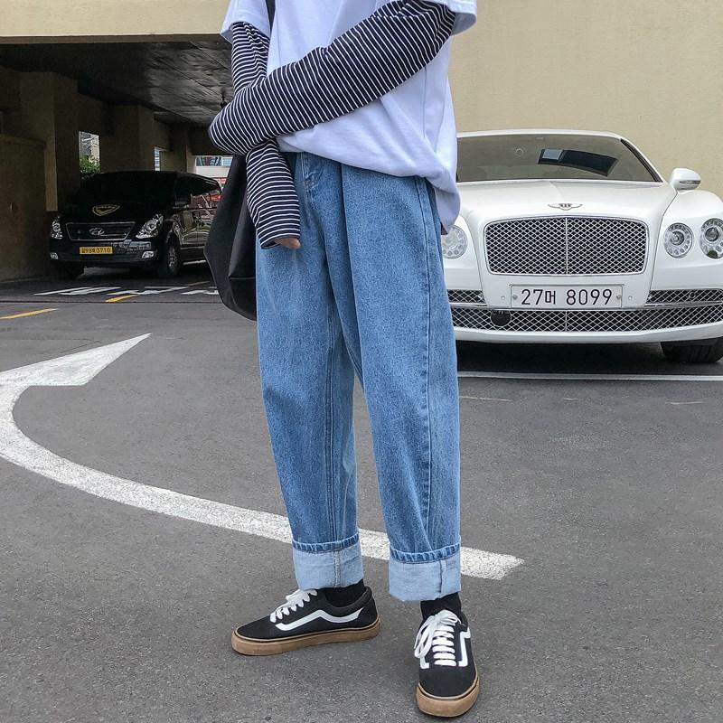 第四十九天纯色水洗牛仔裤潮流宽松直筒裤男士韩版长裤春秋季裤子