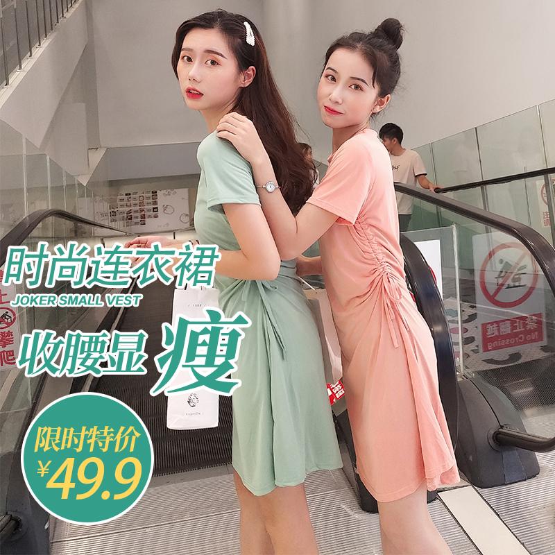 2019新款夏季韩版收腰中长款连衣裙子港风法式复古裙超仙女